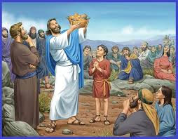 Jesus feeds the crowd with