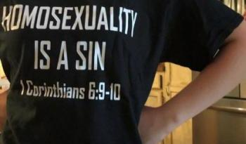 STUDENT SENT HOME FOR 'HOMOSEXUALITY IS A SIN' T-SHIRT