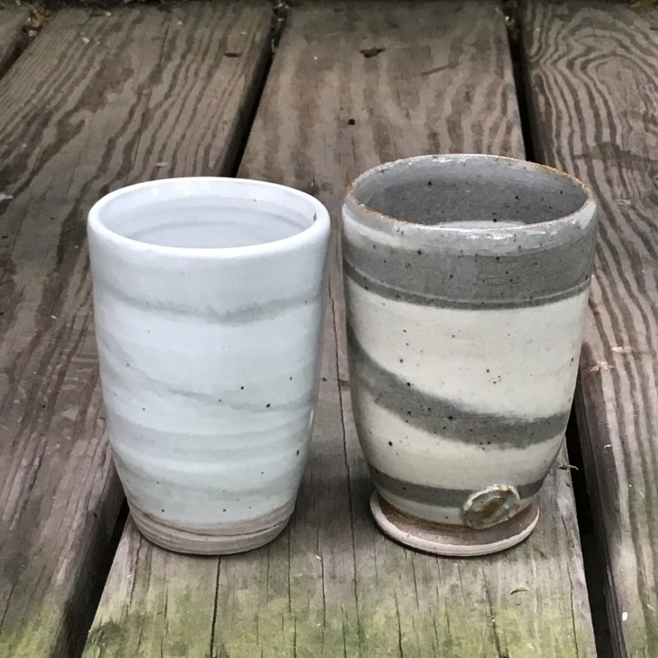 Agateware tumblers (Shaner white and David's clear over marbled stoneware) *n/a