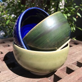 Small bowls (royal blue, green oribe, and silk green over marbled stoneware, oxidation) *n/a