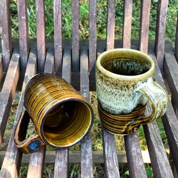 Spiral grooved mugs (Shaner white and/over Ben's amber) *n/a