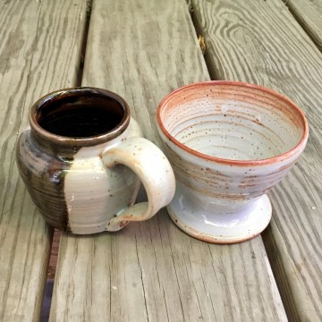 Pot-belly mug (tenmoku over shino) and pour-over coffee maker (shino) *n/a