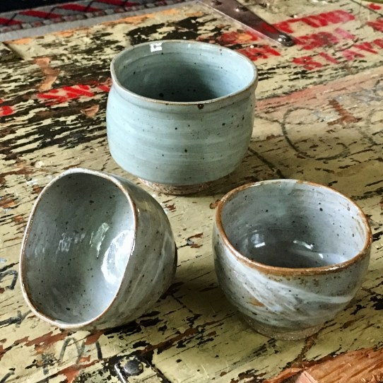 Three-sided marbled tea bowl (celadon) & two marbled tea cups (David's clear glaze)