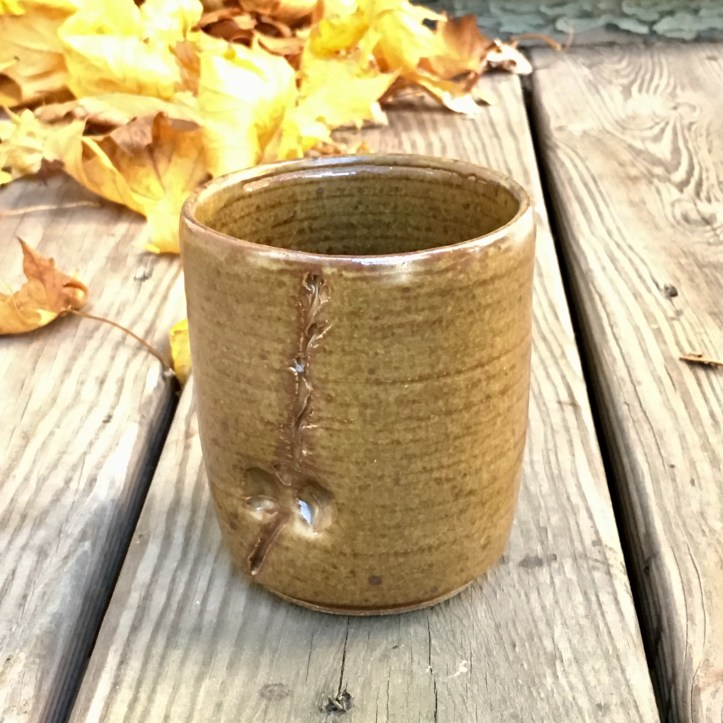Vase with oak branch and acorn impression (St. John's yellow glaze)