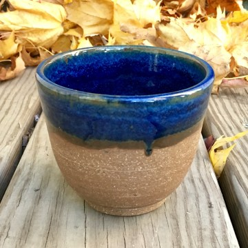 Tea cup (vellum blue over burnished raw stoneware) *n/a