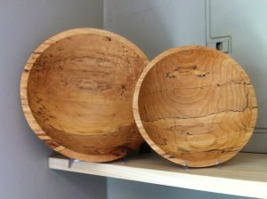 Handcrafted found wood bowls and art Spencer Peterman at Gosset Brothers Nursery, South Salem, NY