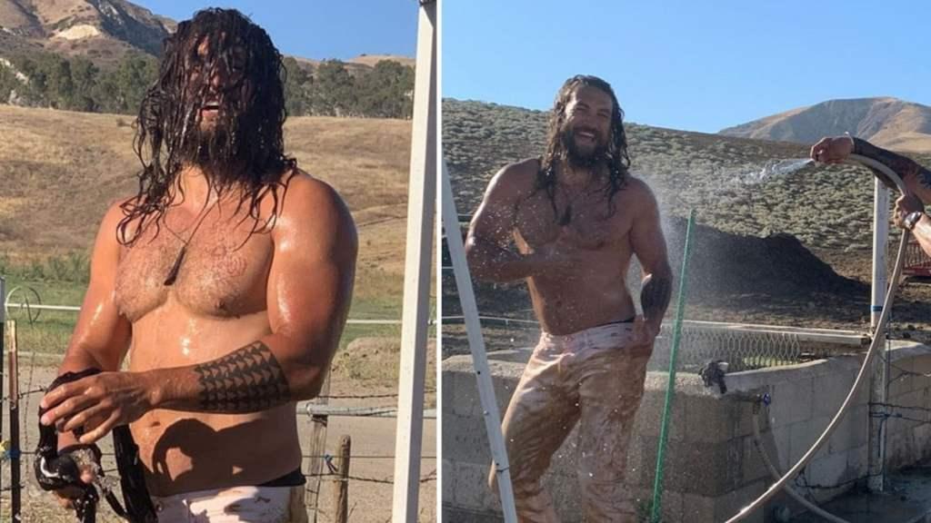 Muddy Jason Momoa Hosed Down After Dune Buggy Ride
