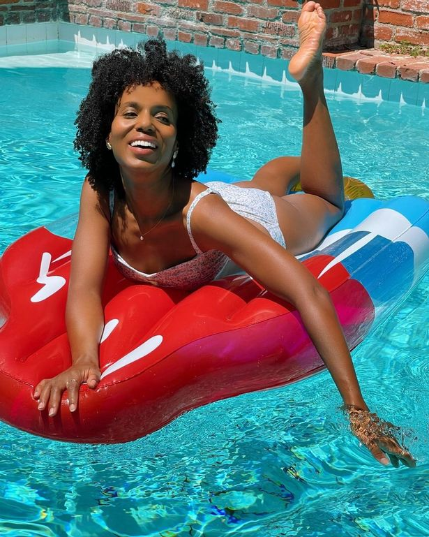 Kerry Washington posed on a red, white, and blue float in a pool but also had a message about Critical Race Theory