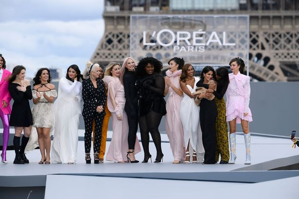 The show culminated with a group shot including Nikolaj Coster-Waldau, Cindy Bruna, Camila Cabello, Amber Heard and a host of models on the catwalk