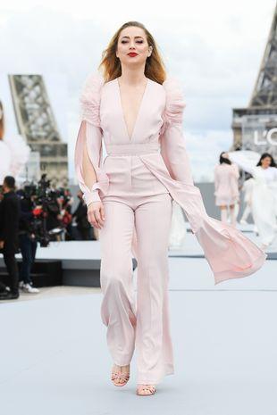 Amber Heard rocks trouser suit chic