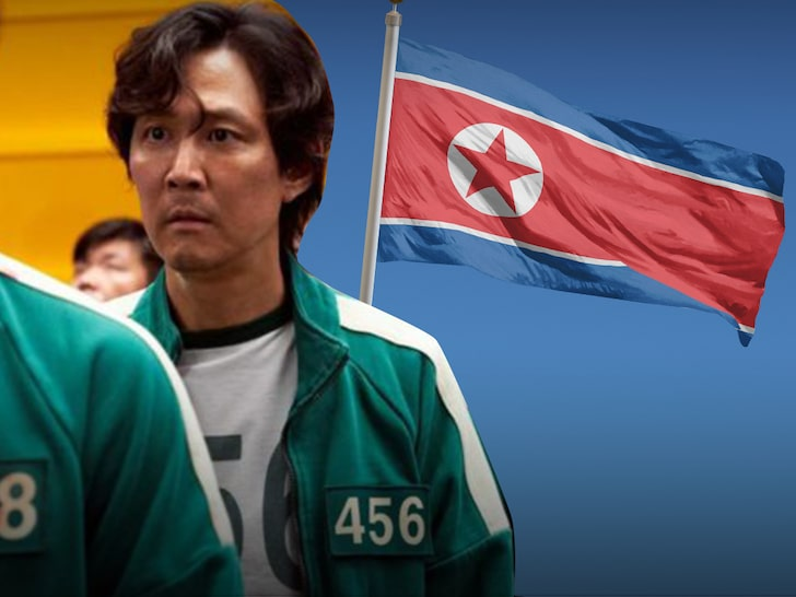 Squid Game actor with North Korea flag