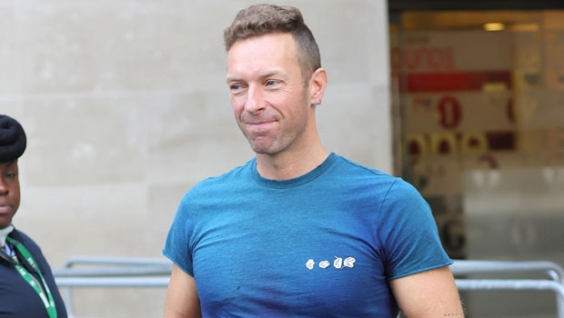 Chris Martin Goes Barefoot Outside As He Leaves BBC Studio In London After 'Live Lounge' Performance