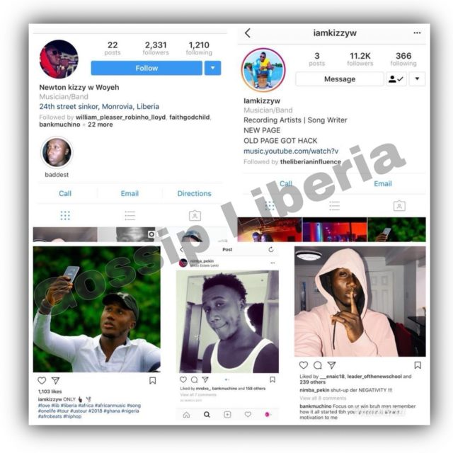 Kizzy W old Instagram Page and His New Instagram Page - 2018