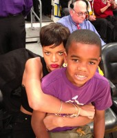 Rihanna (with rapper Game's son Harlem) at Knicks/Lakers basketball game in Los Angeles - Christmas 2012