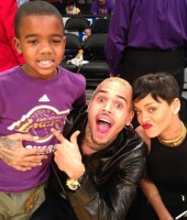 Chris Brown & Rihanna (with rapper Game's son Harlem) at Knicks/Lakers basketball game in Los Angeles - Christmas 2012