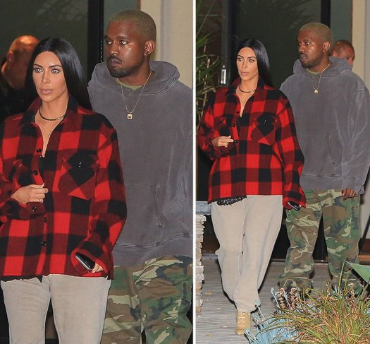 kim-kanye-plaid-sweatpants-010617 (1)
