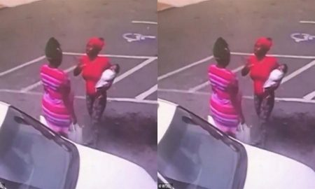 Woman drops baby on concrete to fight