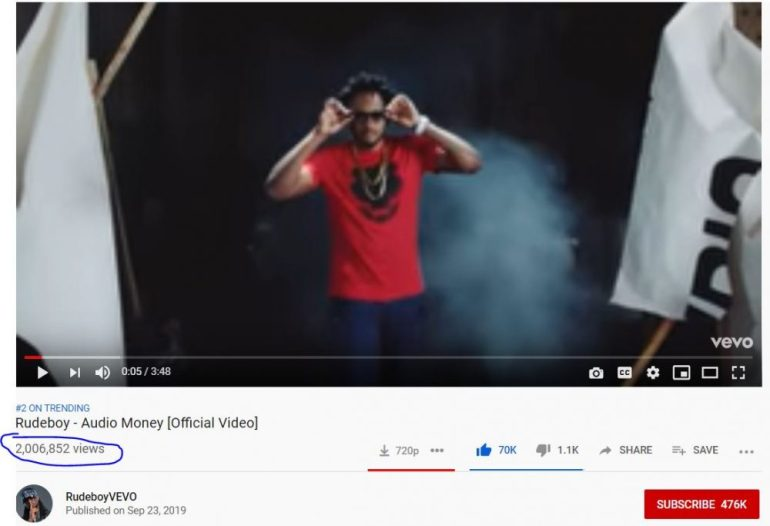 Rudeboy And Shatta Bandle 'AUDIO MONEY' Video Hits 2 Million Views On YouTube In Six Days 1
