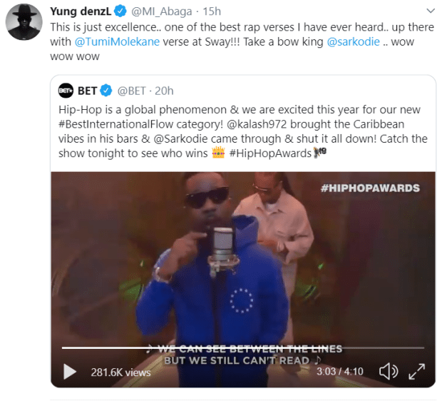 M.I reacts to Sarkodie's freestyle at BET Hip Hop Awards 2109