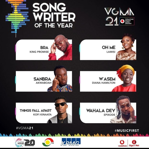 2020 VGMA nominees list for Song Writer of the Year - Live Updates