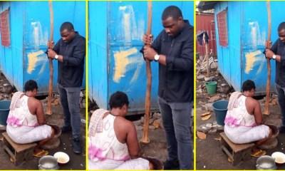 John Dumelo captured pounding fufu on door-to-door campaign 1