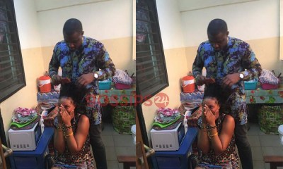 John Dumelo plaits cornrow for female Legon student all because of votes