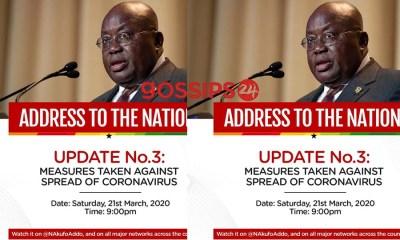 President Akufo-Addo Addresses Nation on Enhanced Measures taken against the spread of Coronavirus