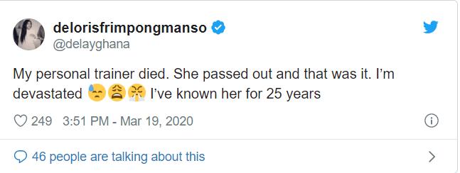 Delay devastated as her personal trainer of 25 years dies 1
