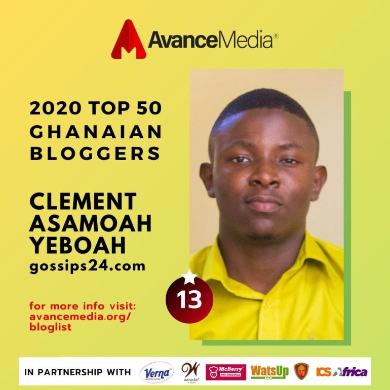 Clement Asamoah of Gossips24.com listed among top 50 Ghanaian bloggers for 2020