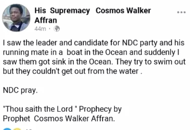"""NDC Pray"" - Prophet Cosmos Walker Drops Another Disturbing Prophecy About John Mahama And Prof Jane Naana Opoku Agyemang 2"