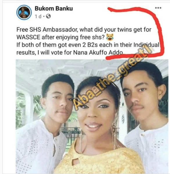 Bukom Banku Teases Afia Schwar's Twins For Woefully Failing In The Just Ended WASSCE (Screenshot) 1
