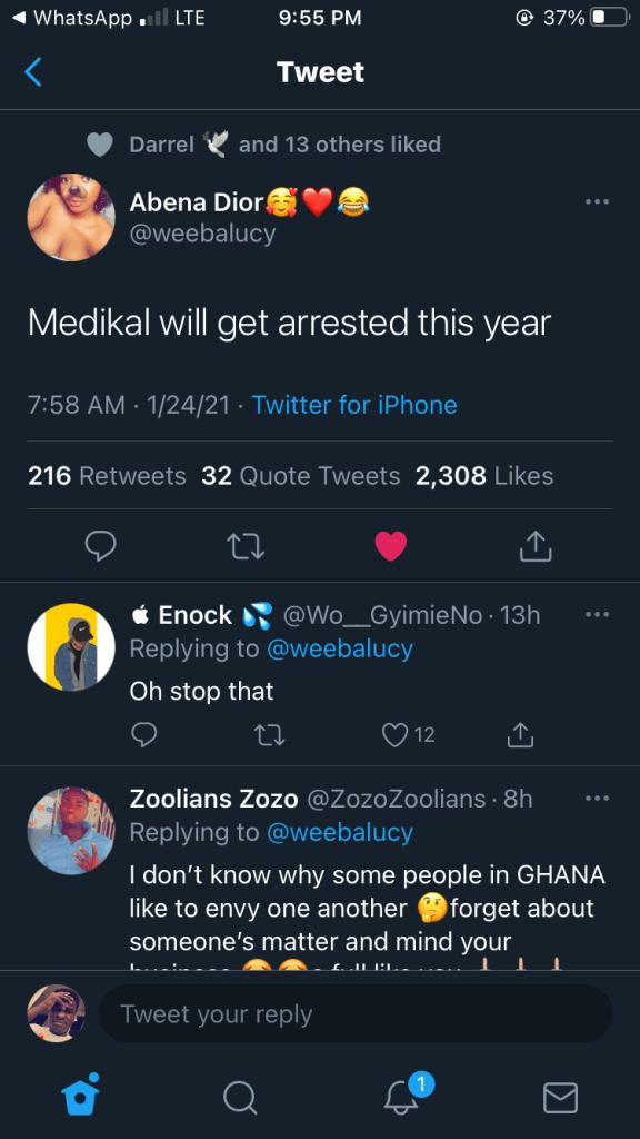 Medikal Will Be Arrested This Year – Social Media User 1