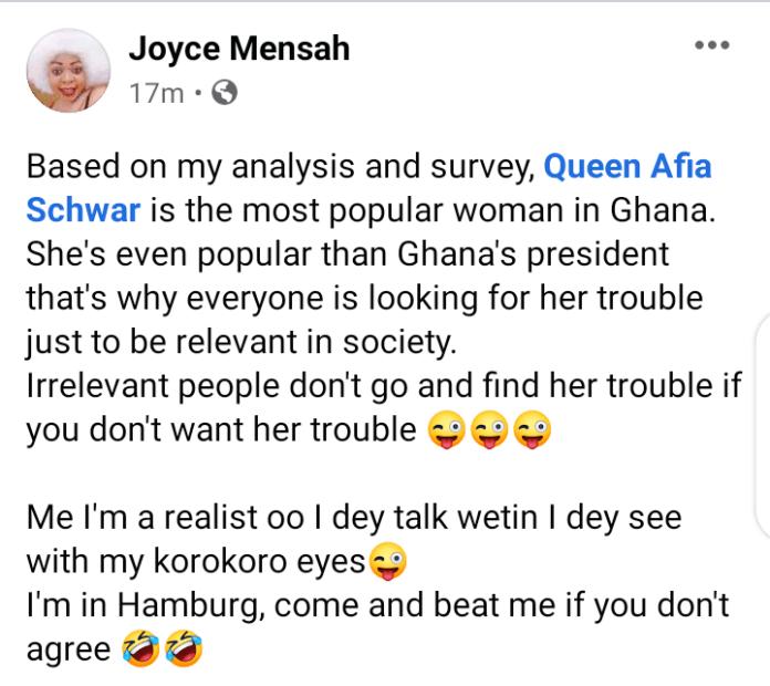 """Afia Schwar Is More Popular Than Nana Addo"" – Joyce Joyce Dzidzor Mensah Opines 2"