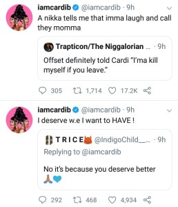 Cardi B Hopped on Twitter to Respond to Fans