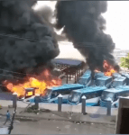 Oyingbo Brt Bus Station set on fire as many buses burn uncontrollably   (Videos)