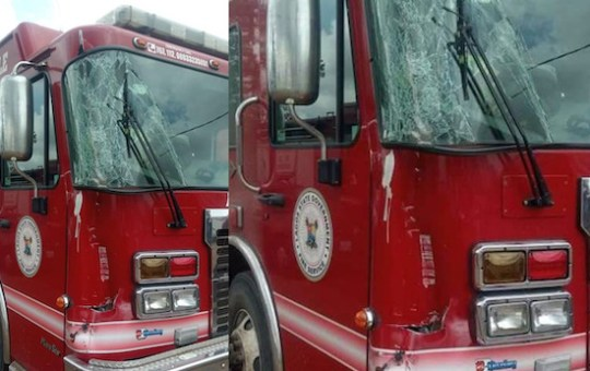 Protesters destroy fire service truck