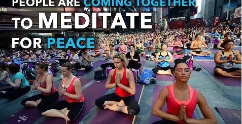 people are coming together to meditate