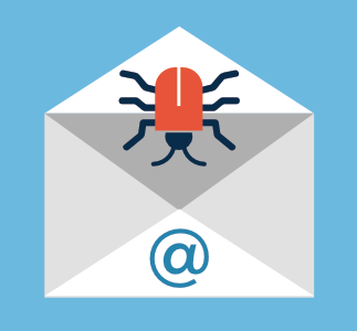 computer bug illustration of cyber attack in an email