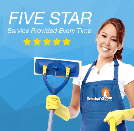 House cleaner with a duster and five star score cleaning services at Got a Hand