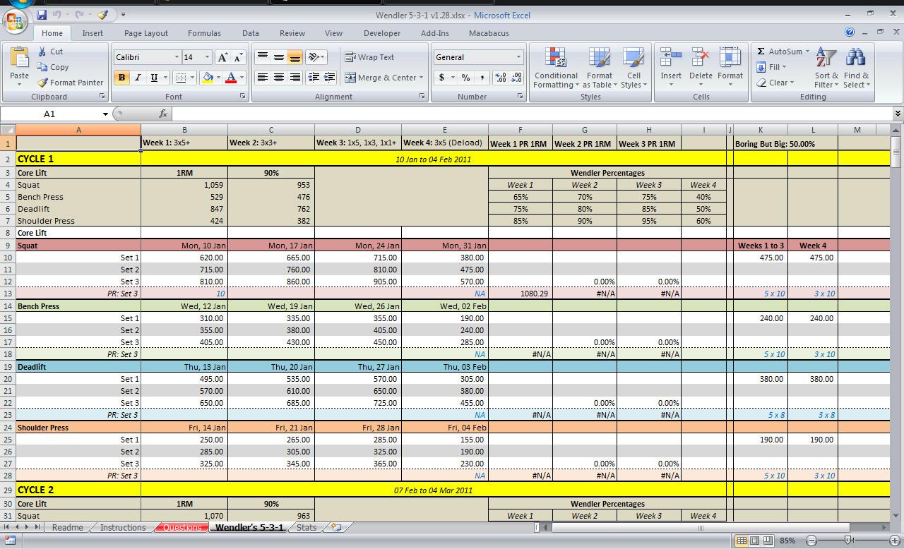 5 3 1 Spreadsheet
