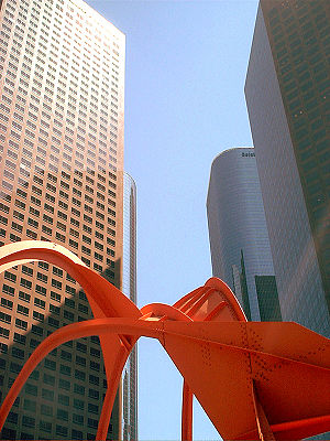 Downtown LA's office skyscrapers. Including th...