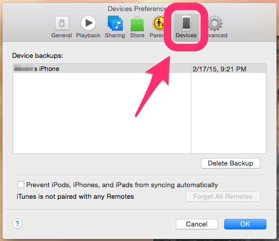 how to delete iphone backups stored on mac