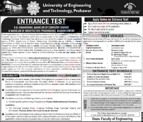 UET peshawar admissions 2017-2018 open
