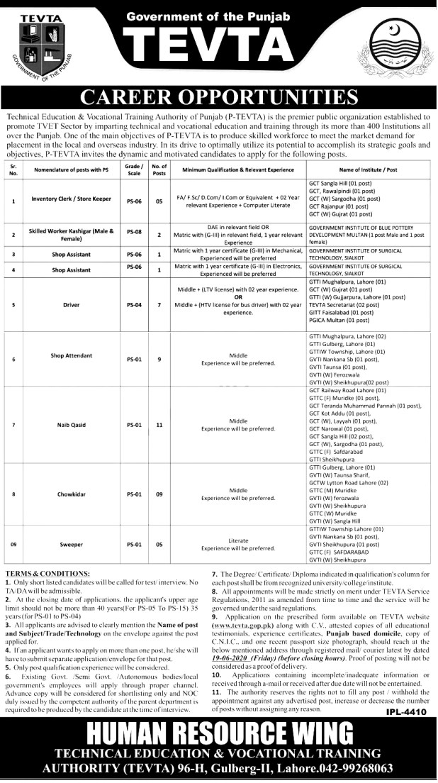 TEVTA Jobs 2021 Available in Punjab Download Application Form