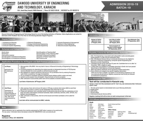 DUET karachi Admission 2021