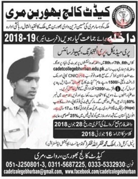 Cadet College Bhurban Muree admission 2021