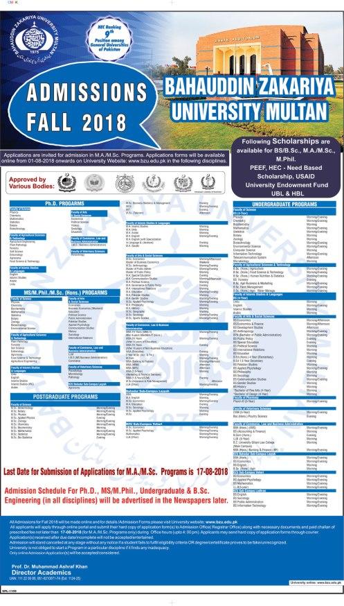 BZU Multan BS MS PhD Admissions 2021