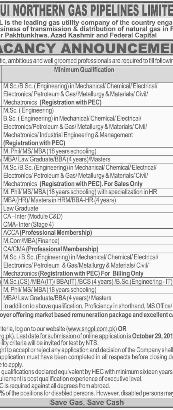 Sui Northern Gas Pipeline Limited NTS Jobs 2021 Online Test Preparation