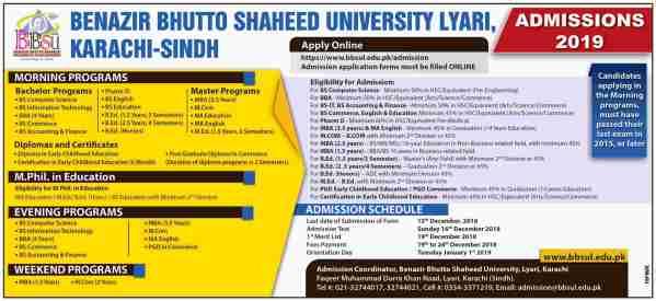 Benazir Bhutto Shaheed University Lyari Admission 2021 Apply Online