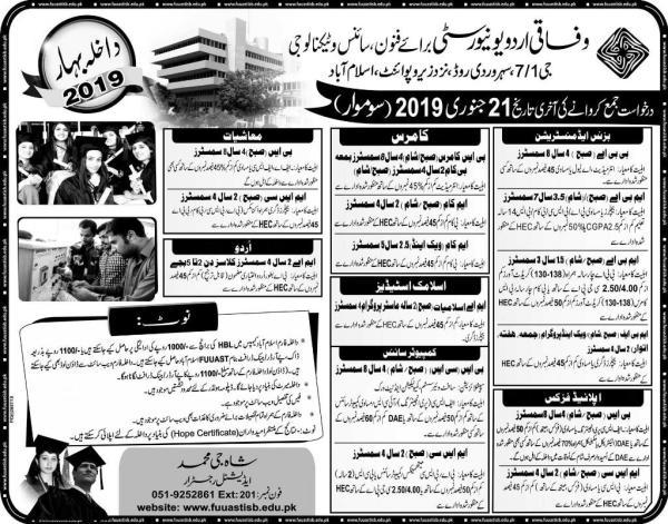Federal Urdu University Islamabad Admission 2021 Apply Online
